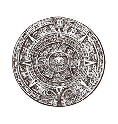 Vintage mayan calendar traditional native aztec vector