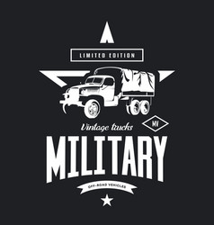 Vintage military truck logo vector