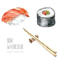 Watercolor sushi and roll with chopsticks vector