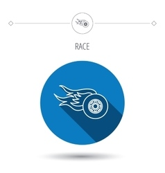 Wheel on fire icon Race or Speed sign vector image