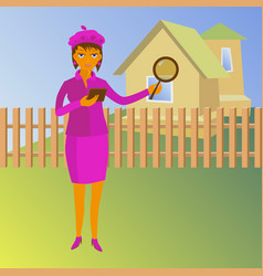 woman with magnifying glass looking for a house vector image
