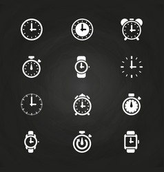 clock and time icons set on blackboard vector image