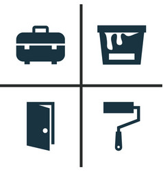 industry icons set collection of paint bucket vector image