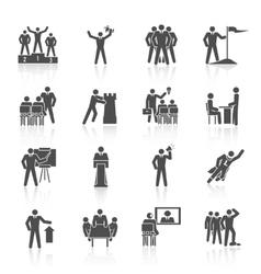 Leadership Icons Black vector image
