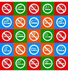 No smoking and smoking area - Big set stickers vector image vector image