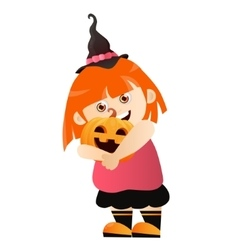 Girl with pumpkin vector