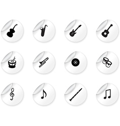 Stickers with musical icons vector image vector image