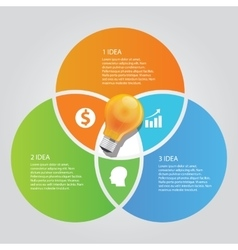 three 3 circle info graphic chart overlap bulb vector image vector image