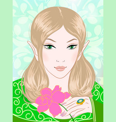 A beautiful spring fairy in green vector