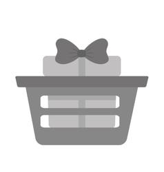 basket shop with gift box ribbon gray color vector image