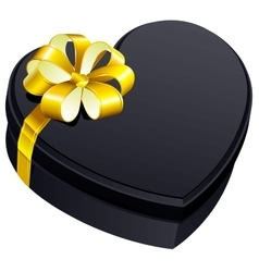 Black gift close box heart shape vector image