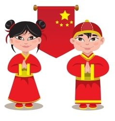 male and a female Chinese on vector image vector image