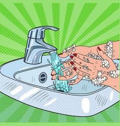 pop art woman washing hands hygiene skincare vector image