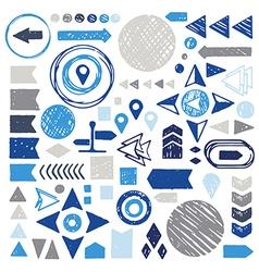 set of sketch geometric elements - arrows circles vector image