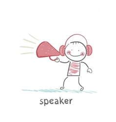 speaker of the headphones into the speaker says vector image vector image