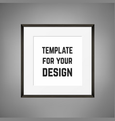 square blank framed poster on grey wall vector image