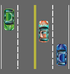 top view cars on asphalt road vector image