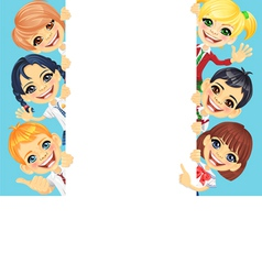 Happy smile kids and vertical banner vector image