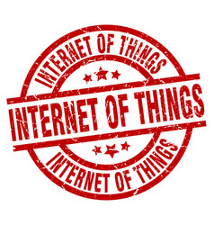 internet of things round red grunge stamp vector image vector image