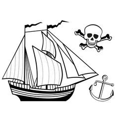 ship anchor and human skull vector image