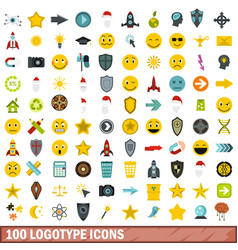 100 logotype icons set flat style vector