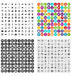100 team work icons set variant vector image