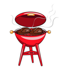 a red grill with fried meat steaks on a white vector image