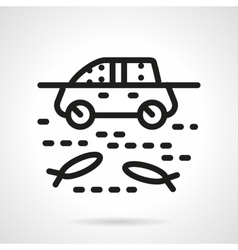 Automobile in water simple line icon vector