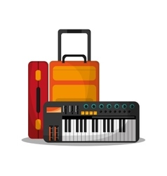 Baggage and piano to travel design vector