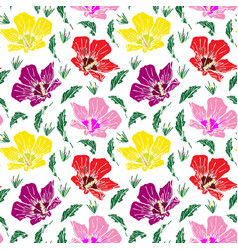 Blooming pink red and yellow mallow seamless vector