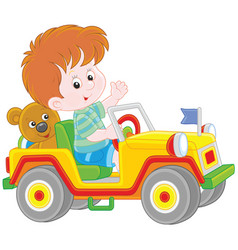 boy playing in a toy sport car vector image