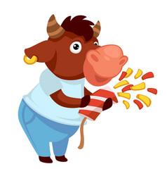 Bull with confetti celebrating holiday festivity vector