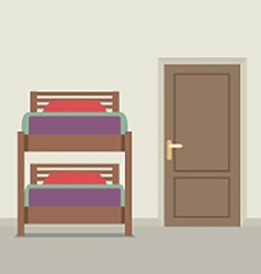 Bunk Bed With A Closed Door vector image