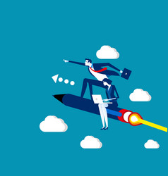 business team flying on pen concept business vector image