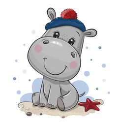 cartoon hippo in sailor costume vector image