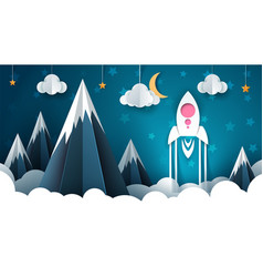 cartoon rocket paper mountain vector image