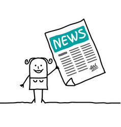 cartoon woman with newsletter vector image