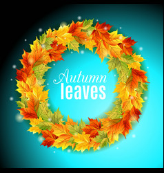 circle autumn leaves on an orange background vector image