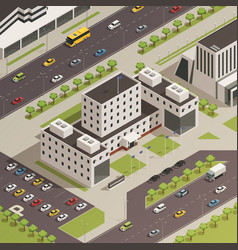 city government buildings isometric composition vector image