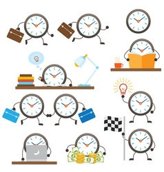 Clock Character Work and Business vector