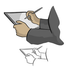 close-up of hand working with stylus on digital vector image