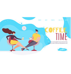 Coffee time in office advertising landing page vector
