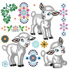 Collection of cartoon little sheep vector