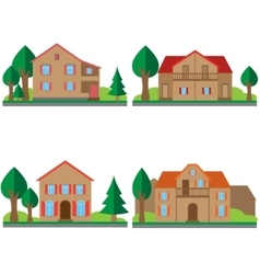 Colorful flat houses set vector image