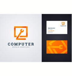 computer repair service logo and business card vector image