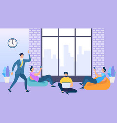 coworking space with creative people using gadgets vector image