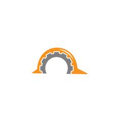 creative gear helmet construction logo design vector image