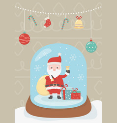 crystal ball santa celebration happy christmas vector image