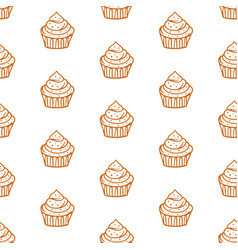 cupcakes seamless pattern with baked goods vector image
