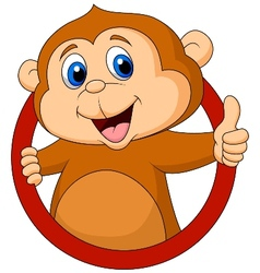 Cute monkey cartoon thumb up vector image